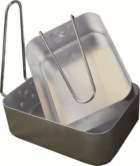 Highlander Mess Tins - 2 Piece - Aluminium - Cooking - Foldable Handles